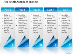 Business Diagram Five Points Agenda Workflow Presentation Template