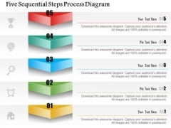 Business Diagram Five Sequential Steps Process Diagram Presentation Template