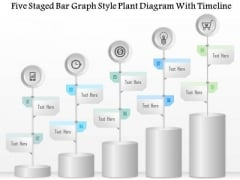 Business Diagram Five Staged Bar Graph Style Plant Diagram With Timeline Presentation Template