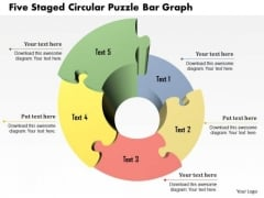 Business Diagram Five Staged Circular Puzzle Bar Graph Presentation Template