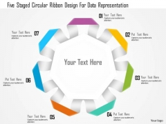Business Diagram Five Staged Circular Ribbon Design For Data Representation Presentation Template