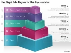 Business Diagram Five Staged Cube Diagram For Data Representation Presentation Template