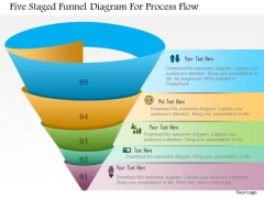 Business Diagram Five Staged Funnel Diagram For Process Flow Presentation Template