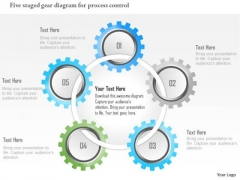 Business Diagram Five Staged Gear Diagram For Process Control Presentation Template