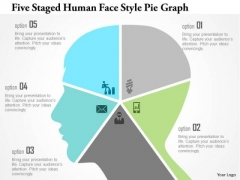 Business Diagram Five Staged Human Face Style Pie Graph Presentation Template