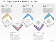 Business Diagram Five Staged Icons For Business Timeline Presentation Template