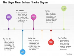 Business Diagram Five Staged Linear Business Timeline Diagram Presentation Template