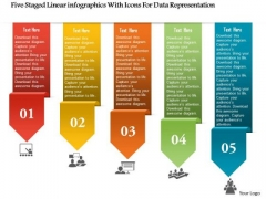 Business Diagram Five Staged Linear Infographics With Icons For Data Representation Ppt Template