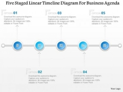 Business Diagram Five Staged Linear Timeline Diagram For Business Agenda Presentation Template