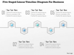 Business Diagram Five Staged Linear Timeline Diagram For Business Presentation Template