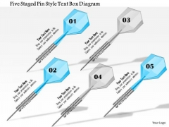 Business Diagram Five Staged Pin Style Text Box Diagram Presentation Template