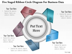 Business Diagram Five Staged Ribbon Circle Diagram For Business Data Presentation Template