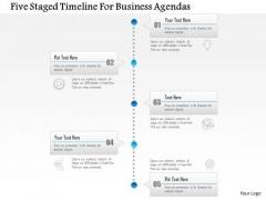Business Diagram Five Staged Timeline For Business Agendas Presentation Template