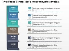 Business Diagram Five Staged Vertical Text Boxes For Business Process Presentation Template