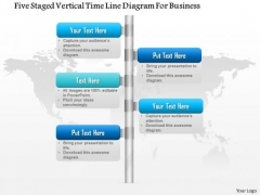 Business Diagram Five Staged Vertical Time Line Diagram For Business Presentation Template