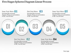 Business Diagram Five Stages Spheres Diagram Linear Process Presentation Template