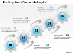 Business Diagram Five Steps Gears Process Info Graphic Presentation Template