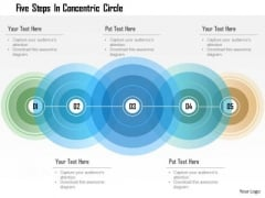 Business Diagram Five Steps In Concentric Circle Presentation Template