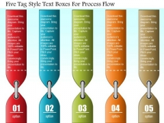 Business Diagram Five Tag Style Text Boxes For Process Flow Presentation Template