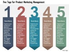 Business Diagram Five Tags For Product Marketing Management Presentation Template
