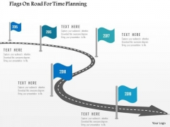 Business Diagram Flags On Road For Time Planning Presentation Template