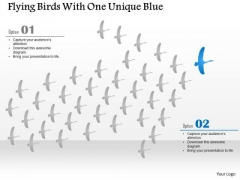 Business Diagram Flying Birds With One Unique Blue Presentation Template