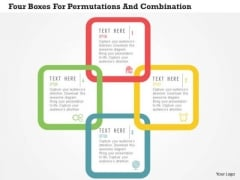 Business Diagram Four Boxes For Permutations And Combination Presentation Template