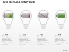 Business Diagram Four Bulbs And Battery Icons Presentation Template