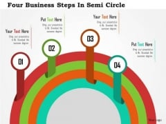Business Diagram Four Business Steps In Semi Circle Presentation Template