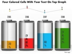 Business Diagram Four Colored Cells With Year Text On Top Graph PowerPoint Slide