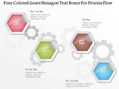 Business Diagram Four Colored Gears Hexagon Text Boxes For Process Flow Presentation Template