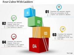 Business Diagram Four Cubes With Ladders Presentation Template
