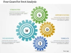 Business Diagram Four Gears For Swot Analysis Presentation Template