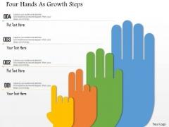 Business Diagram Four Hands As Growth Steps Presentation Template