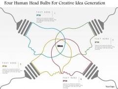 Business Diagram Four Human Head Bulbs For Creative Idea Generation Presentation Template