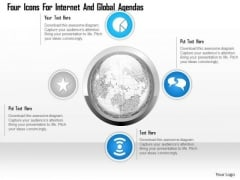 Business Diagram Four Icons For Internet And Global Agendas Presentation Template
