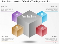 Business Diagram Four Interconnected Cubes For Text Representation Presentation Template