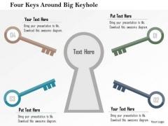 Business Diagram Four Keys Around Big Keyhole Presentation Template
