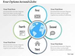 Business Diagram Four Options Around Globe Presentation Template