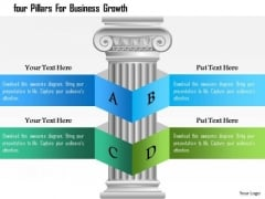 Business Diagram Four Pillars For Business Growth Presentation Template