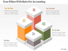 Business Diagram Four Pillars With Ratio For Accounting Presentation Template