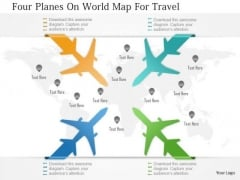 Business Diagram Four Planes On World Map For Travel Presentation Template
