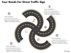 Business Diagram Four Roads For Street Traffic Sign Presentation Template