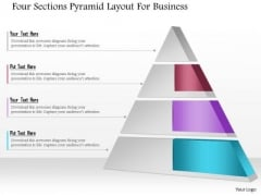 Business Diagram Four Sections Pyramid Layout For Business Presentation Template