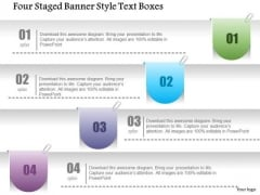 Business Diagram Four Staged Banner Style Text Boxes PowerPoint Template
