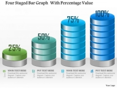 Business Diagram Four Staged Bar Graph With Percentage Value Presentation Template