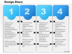 Business Diagram Four Staged Design Diary For Data Flow Presentation Template