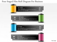 Business Diagram Four Staged Film Roll Diagram For Business Presentation Template