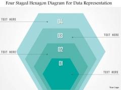 Business Diagram Four Staged Hexagon Diagram For Data Representation Presentation Template