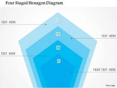 Business Diagram Four Staged Hexagon Diagram Presentation Template